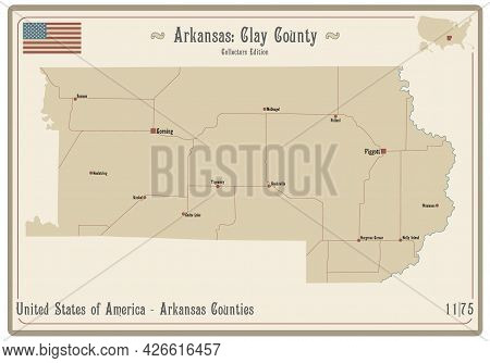 Map On An Old Playing Card Of Clay County In Arkansas, Usa.