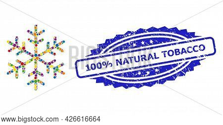 Multicolored Mosaic Snowflake, And 100 Percents Natural Tobacco Rubber Rosette Seal Imitation. Blue