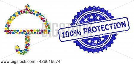 Vibrant Mosaic Umbrella, And 100 Percents Protection Rubber Rosette Seal. Blue Seal Has 100 Percents
