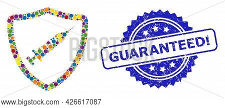 Multicolored Mosaic Vaccine Shield, And Guaranteed Exclamation Grunge Rosette Stamp Seal. Blue Seal