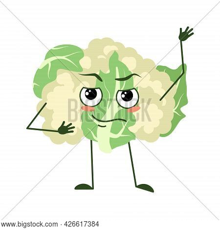 Cute Cauliflower Character With Emotions, Face, Arms And Legs. The Funny Or Proud, Domineering Hero,