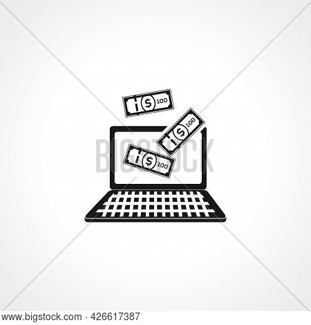 Online Earning Sign. Online Earning Isolated Simple Vector Icon. Money From Screen Of Laptop
