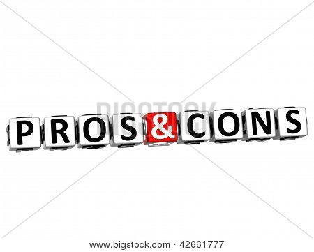 3D Pros And Cons Button Click Here Block Text