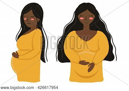 Isolated Vector Illustration Pregnant Woman With Yellow Dress And Dark Brown Hair