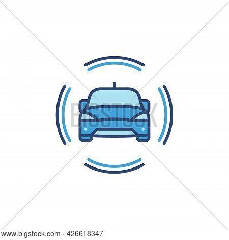 Autonomous Driverless Car Vector Concept Blue Icon