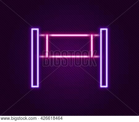 Glowing Neon Line Volleyball Net Icon Isolated On Black Background. Colorful Outline Concept. Vector