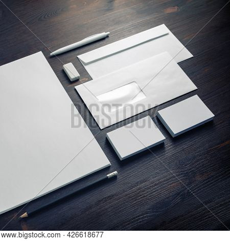 Blank Corporate Identity Template On Wooden Background. Photo Of Blank Stationery Set. Mockup For De