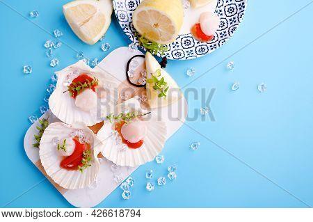 Preparing Healthy Gourmet Food, Seared Scallops With Caviar On On A Beautiful Dish In Shellfish Shel
