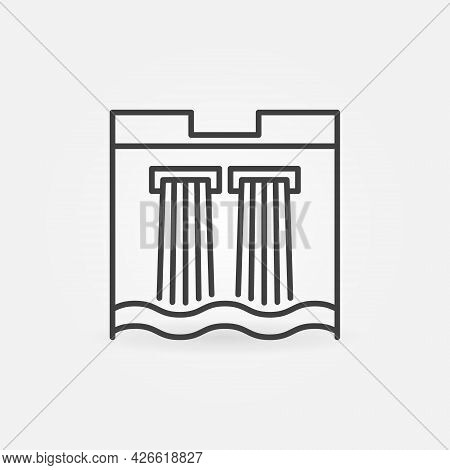 Water Dam Line Icon. Hydroelectric Power Station Linear Symbol