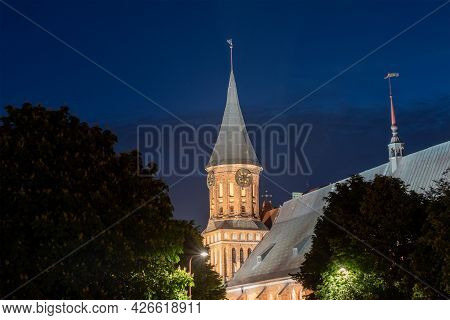 Kaliningrad, Russia On June 5, 2021, The Historic Lutheran Cathedral In Kaliningrad At Night. The Co