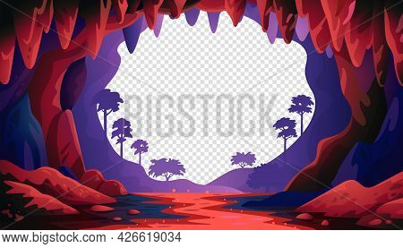 Cave In Jungle Vector Landscape. Cave Landscape With An Underground Red River And Forest. Vector Ill