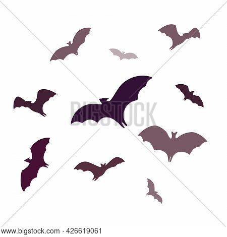 Flying Bats, A Group Of Cartoon Cave Bats Isolated On White Background. Vector Illustration In Flat