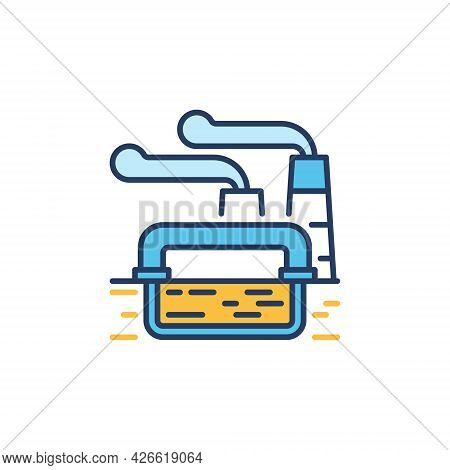 Geothermal Power Station Colored Icon - Vector Energy Sign