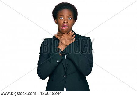 Young african american girl wearing business clothes shouting suffocate because painful strangle. health problem. asphyxiate and suicide concept.