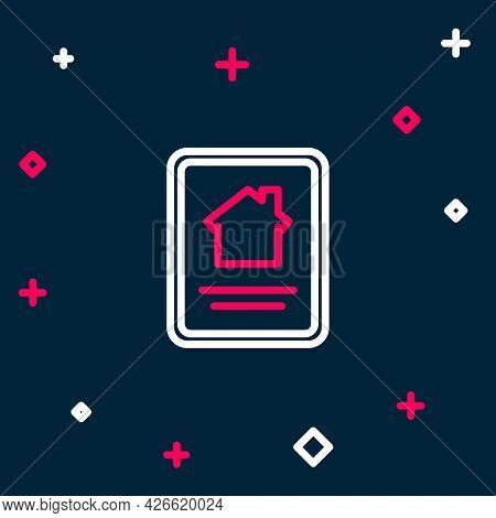 Line Online Real Estate House On Tablet Icon Isolated On Blue Background. Home Loan Concept, Rent, B