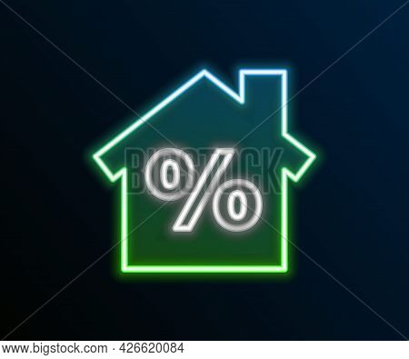 Glowing Neon Line House With Percant Discount Tag Icon Isolated On Black Background. Real Estate Hom