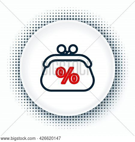Line Purse Money Percent Icon Isolated On White Background. Percent Loyalty Wallet Sign. Colorful Ou