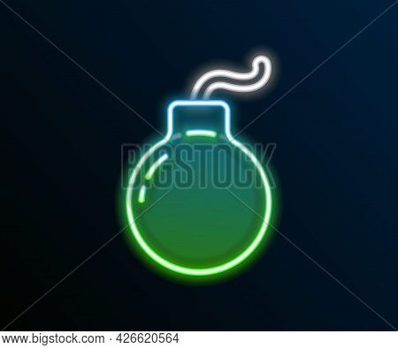 Glowing Neon Line Bomb Ready To Explode Icon Isolated On Black Background. Colorful Outline Concept.