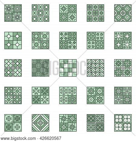 Ceramic Tiles Colored Icon Set. Vector Tile Square Signs