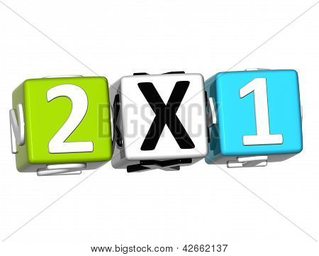 3D Two For One Button Click Here Block Text