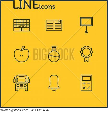 Vector Illustration Of 9 Science Icons Line Style. Editable Set Of Flask, Building, Calculator And O