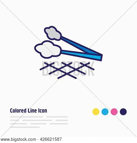 Vector Illustration Of Tongs Icon Colored Line. Beautiful Utensil Element Also Can Be Used As Barbec