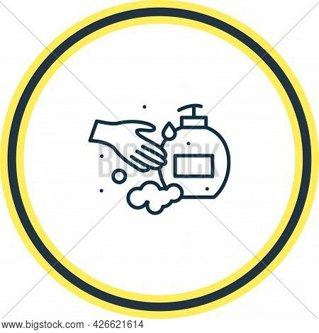 Vector Illustration Of Cleanliness Icon Line. Beautiful Bathroom Element Also Can Be Used As Hand Ge