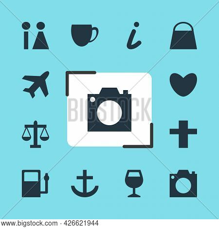 Vector Illustration Of 12 Location Icons. Editable Set Of Airplane, Bar, Shopping Bag And Other Icon