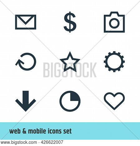 Vector Illustration Of 9 Interface Icons. Editable Set Of Star, Soul, Camera And Other Icon Elements