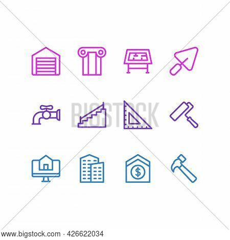 Vector Illustration Of 12 Architecture Icons Line Style. Editable Set Of Buy House Online, Building,