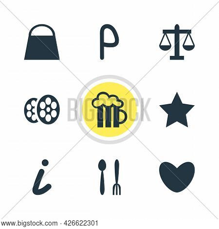 Vector Illustration Of 9 Map Icons. Editable Set Of Parking Sign, Law, Love And Other Icon Elements.