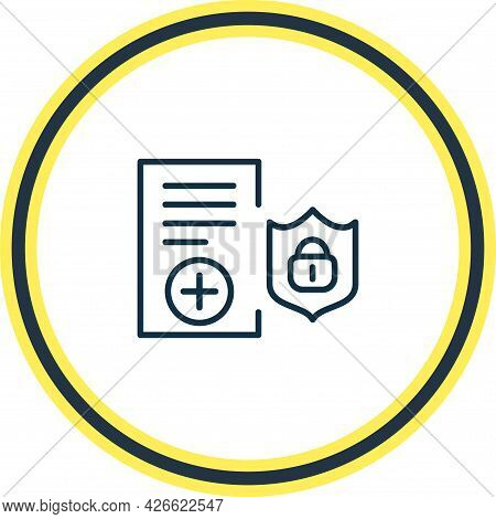 Vector Illustration Of Insurance Policy Icon Line. Beautiful Justice Element Also Can Be Used As Pro