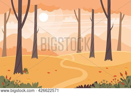Autumn Landscape With Trees, Fields And Hills. Countryside Landscape. Vector Illustration In Flat St