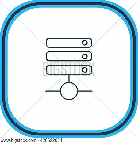 Vector Illustration Of Database Icon Line. Beautiful Network Element Also Can Be Used As Server Icon