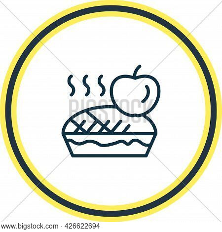 Vector Illustration Of Apple Pie Icon Line. Beautiful Gourmet Element Also Can Be Used As Tart Icon