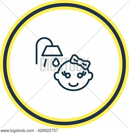 Vector Illustration Of Baby Shower Icon Line. Beautiful Infant Element Also Can Be Used As Bathroom