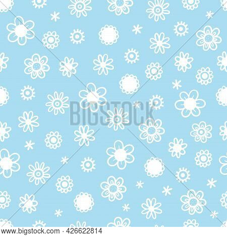 Seamless Pattern With Different Flowers On Blue Background. Vector Print With Herbs. Botanical Doodl