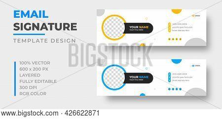 Corporate Modern Email Signature Design Template. Email Signature Template Design Set With Blue And