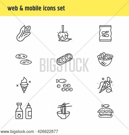 Vector Illustration Of 12 Gourmet Icons Line Style. Editable Set Of Corn, Noodles, Coned Ice Cream A