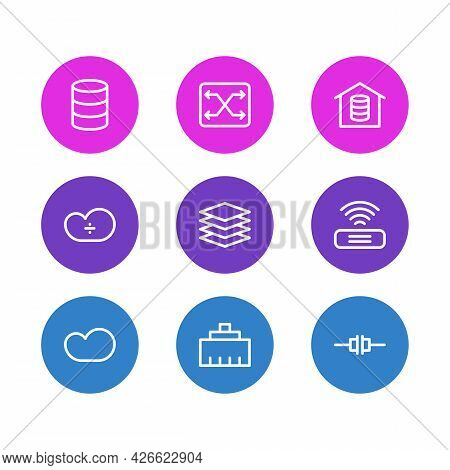 Vector Illustration Of 9 Network Icons Line Style. Editable Set Of Root Server, Switch, Cloud Storag
