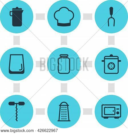 Vector Illustration Of 9 Cooking Icons. Editable Set Of Microwave, Carafe, Bbq Fork And Other Icon E