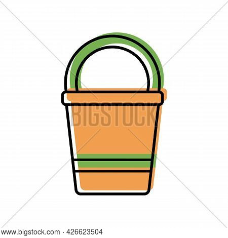 Bucket With Handle For Gardening, Color Icon Isolated On White Background. Garden Tools, Household P