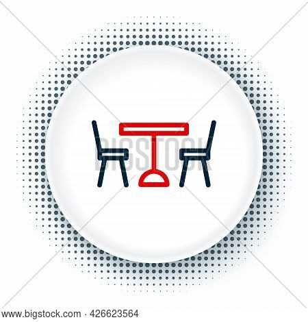 Line Picnic Table With Chairs On Either Side Of The Table Icon Isolated On White Background. Colorfu