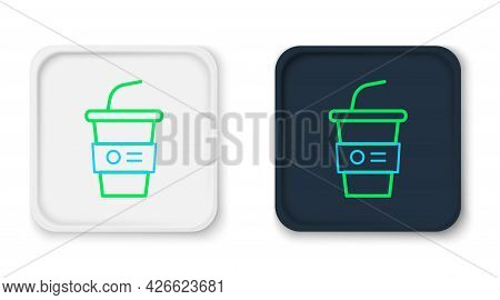 Line Paper Glass With Drinking Straw And Water Icon Isolated On White Background. Soda Drink Glass.