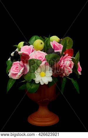 Exclusive Handmade Soap In The Form Roses Peonies Daisies Berries And Fruits In A Vase On A Black Ba