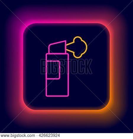 Glowing Neon Line Pepper Spray Icon Isolated On Black Background. Oc Gas. Capsicum Self Defense Aero