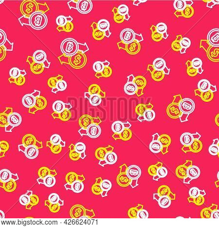 Line Cryptocurrency Exchange Icon Isolated Seamless Pattern On Red Background. Bitcoin To Dollar Exc