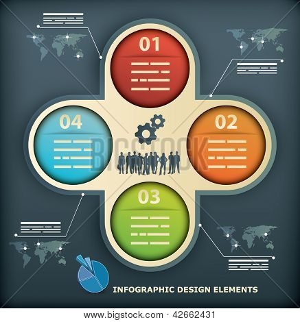 Presentation Template with four options for infographics, web designs, brochures