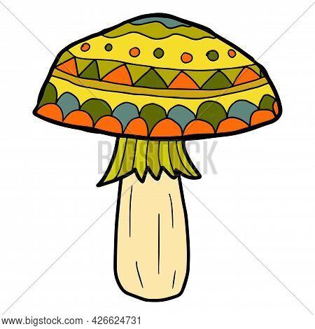 Cartoon Doodle Mushroom Isolated On White Background. Childlike Style Woodland Icon.