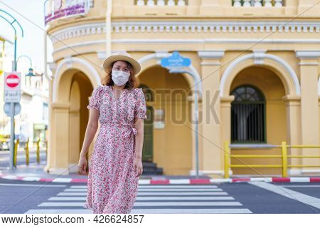 Travelers On Street Phuket Old Town With Building Sino Portuguese Architecture At Phuket Old Town Ar